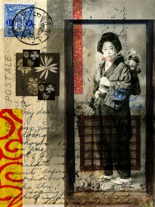 "The Japanese Flower Girl, Digital Montage on Fine Art Paper on Wood, 2014, 8"" x 10"" x 1.5"""