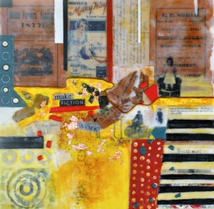 "Collecting the Pieces #5: Working Fictions, Beeswax encaustic & mixed media on wood, 2014, 16"" x 16"" x 2"""