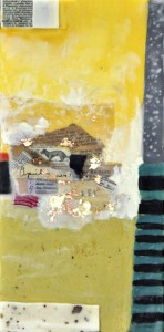 "Ephemeral Landscape #1, Beeswax encaustic & mixed media on wood, 2014, 6"" x 12"" x 2"" (SOLD)"