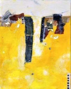 "Ephemeral Landscape #3, Beeswax Encaustic & mixed media on wood, 2014, 11"" x 14"" x 1"""