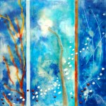 "Into the Blue, Beeswax encaustic & mixed media on wood, 2015, 12"" x 12"" x 1"""