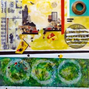"Beeswax encaustic & mixed media on wood, 2015, 16"" x 16"" x 2"""