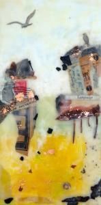 "Beeswax encaustic & mixed media on wood, 2015, 6"" x 12"" x 2"""