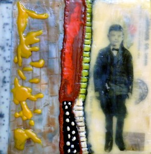 "Beeswax encaustic & mixed media on wood, 2015, 6"" x 6"" x 2"""