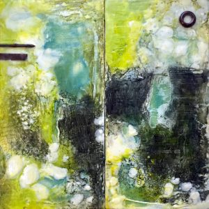 "Weathered & Worn: Cliff Edge, Beeswax encaustic & mixed media on wood, 2017, 12"" x 12"" x 1"""