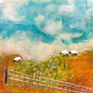 "Landscape - Summer Sheep, Beeswax encaustic & mixed media on wood, 2017, 10"" x 10"" x 1.5"""