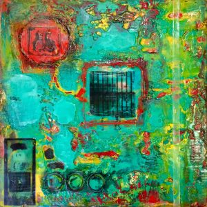 "Weathered & Worn: The Wall, Beeswax encaustic & mixed media on wood, 2017, 12"" x 12"" x 1.5"""