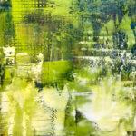 "Spring Rain, Oil & Cold Wax on Wood, 2018, 6"" x 6"" x 1"""