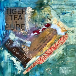"Tiger Tea is Pure, Oil, Cold Wax & Mixed Media on Wood, 2018, 6"" x 6"" x 1"""