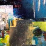"Kyoto Never Sleeps, Oil & cold wax on wood panel, 2019, 20"" x 20"" x 1.5"""