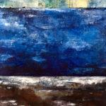"Night Tide, Oil & cold wax on wood panel, 2019, 16"" x 20"" x 1"""