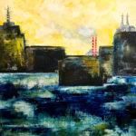 "Port City, Oil & cold wax on wood panel, 2019, 20"" x 20"" x 1.5"""