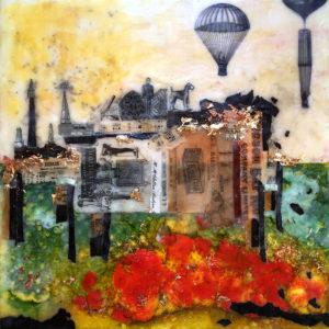"""Ephemeral Landscape, Encaustic & mixed media, 2017, 12"""" x 12"""" x 1"""""""