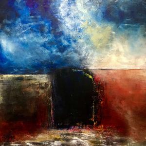 "The Door in the Hillside, Oil & Cold Wax on Wood, 2019, 16"" x 16"" x 1.5"""