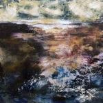 "Winter Storm Beach, Oil & Cold Wax on Wood, 2020, 16"" x 16"" x 1.5"""