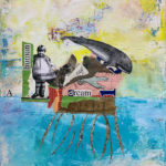 "A Human Dream, Acrylic & Collage on Canvas, 2021, 11"" x 14"" x .5"""