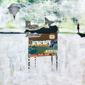 """Floating a Dream, Acrylic & Collage on Canvas, 2021, 12"""" x 12"""" x 1"""""""