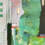 "Mapping the Coast, Acrylic & Collage on Masonite, 2020, 9"" x 9"" x 1"""