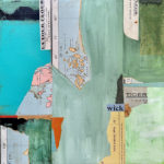 """Mapping the New World #1, Acrylic & Collage on Canvas, 2021, 12"""" x 12"""" x .5"""""""
