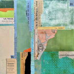 """Mapping the New World #2, Acrylic & Collage on Canvas, 2021, 12"""" x 12"""" x .5"""""""
