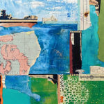 """Mapping the New World #4, Acrylic & Collage on Canvas, 2021, 12 """"x 12"""" x.5"""""""