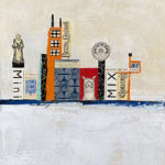 """Winter in the Port City, Acrylic & Collage on Canvas, 2020, 11"""" x 14"""" x .5"""""""