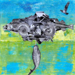 "Airship Anthropocene, Acrylic & Steel Engraving Photo Collage on Canvas, 2021, 12"" x 12"" x .5"""