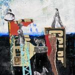 "Bridging the Gap, Acrylic & Collage on Canvas, 2021, 8"" x 10"" x .5"""