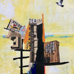 """The City in the Trees, Acrylic & Collage on Canvas, 2021, 8"""" x 10"""" x .5"""""""